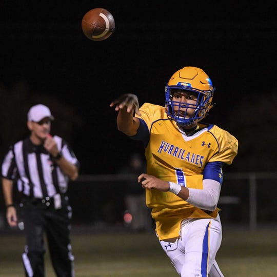 Wren senior Joe Owens(1) throws playing Belton-Honea Path High School during the fourth quarter at Wren High School in Piedmont Thursday, October 24, 2019.