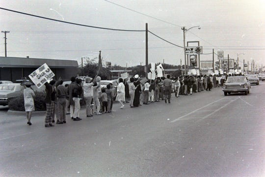 Scene from the 1969 Chicano walkout. The Abilene ISD administration building then was located on North Mockingbird Lance (at the left), across from the Abilene High school campus.