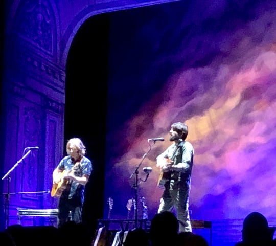 Singer-songwriter Ray Lamontagne, right, performs Oct. 20 at the Thomas Wolfe Auditorium in Asheville. He was accompanied by My Morning Jacket guitarist Carl Broemel. The crowd at times got rowdy, and several people had to be ejected.