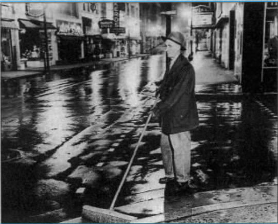 Gamble won a North Carolina Press Association award in 1951 for this photo of a night-time street cleaner