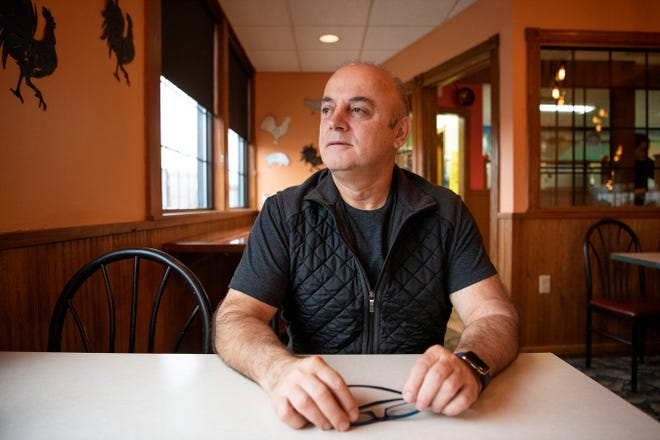 Bob Stamatopoulos poses for a portrait inside his business Free Range Pancake House on Friday, Oct. 25, 2019 in Marshall, Mich. Stamatopoulos left Christianapolis, a village in Greece, for America in 1986 and opened his first restaurant in 1987.