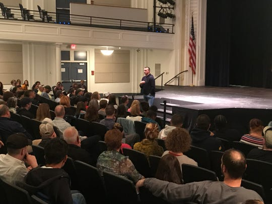 Former NBA player Chris Herren speaks Oct. 24, 2019 at Binghamton High School.