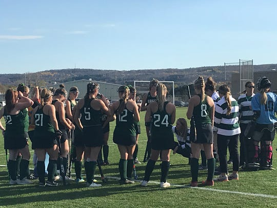 Greene coach Christine Battaglini instructs her team during a timeout in Thursday's Section 4 Class C quarterfinal at Whitney Point. The Trojans won, 1-0.