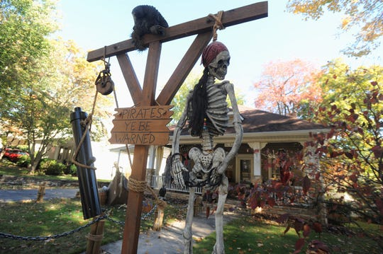 "Halloween decorations at the home of Jack Taylor are inspired by the ""Pirates of the Caribbean"" movie series. The Church Street home is a popular destination for trick-or-treaters every year."