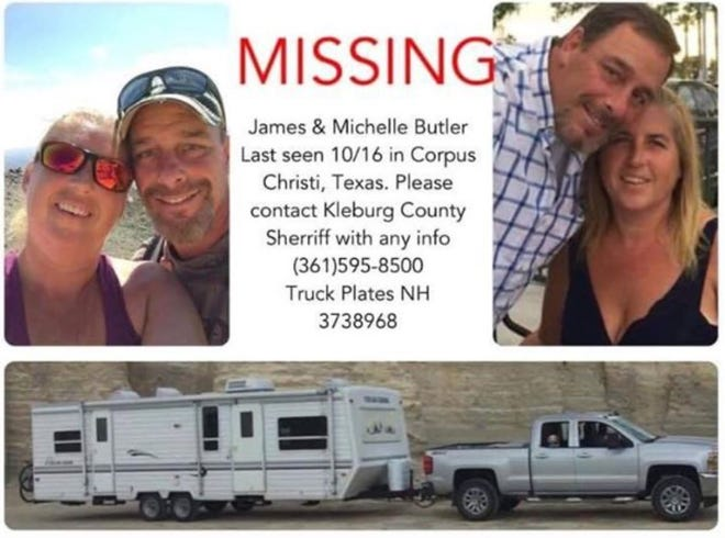 James and Michelle Butler were last seen Oct. 15, 2019 in Corpus Christi. Anyone with information about the couple should call the Kleberg County Sheriff's Office at 361-595-8500.