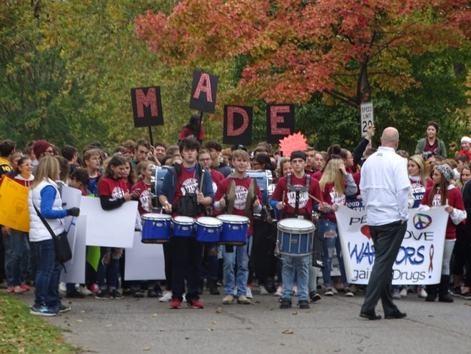 MADE students march from Yoctangee Park to the Ross County Courthouse Friday led by a drum line.