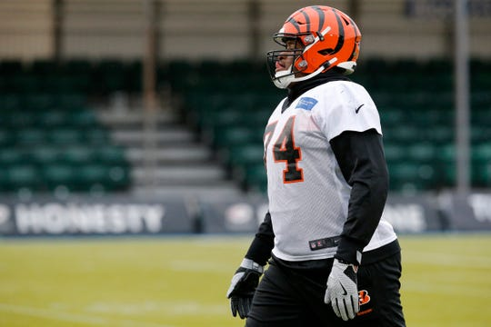 Cincinnati Bengals offensive guard Fred Johnson (74) warms up during a practice at Allianz Park in London, on Friday, Oct. 25, 2019.