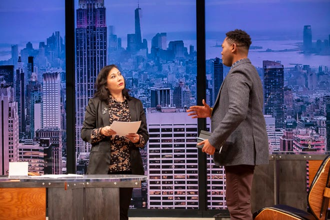 """Kate Rigg, left, and JuCoby Johnson star in the Playhouse in the Park's production of """"The Lifespan of a Fact."""" Rigg plays a tough-as-nails editor who assigns the intern to fact-check the work of a veteran writer whose moving story is riddled with inaccuracies. The show runs through Nov. 16."""