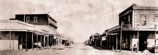 1882: Fifth and Allen Street in Tombstone, Arizona, the wild west town famous for the gunfight at the O.K. Corral.