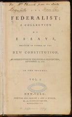 Title page of the first collection of The Federalist (1788). This particular volume was a gift from Alexander Hamilton's wife Elizabeth Schuyler Hamilton to her sister Angelica.
