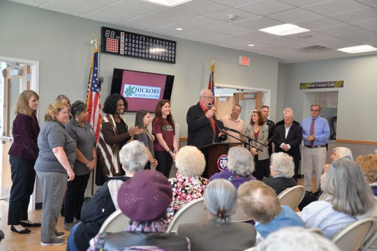 Woodbridge Mayor John E. McCormac welcomes residents to the new Hickory Senior Center in the Fords section of the township.