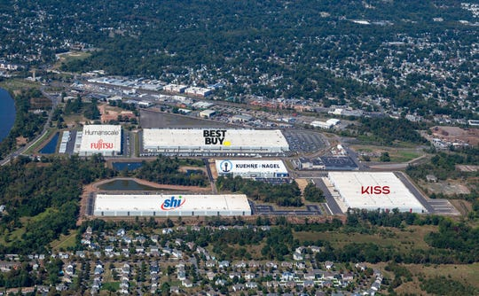 An aerial view of the Rockefeller Group Logistics Center in Piscataway.