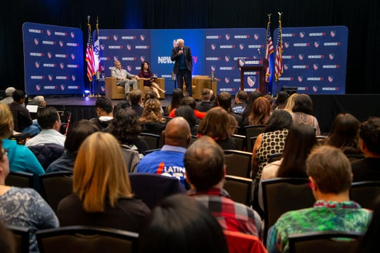 Democratic presidential candidate Sen. Bernie Sanders' (I-Vt.) speaks at the LULAC and Newsmax TV Democratic presidential town hall in Des Moines Thursday, Oct. 24, 2019.