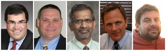 Johnston City Council candidates Tom Cope, David Lindeman, Suresh Reddy, Alan Schultz and Scott Syroka.
