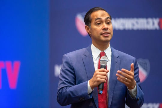 Democratic presidential candidate former Housing Secretary Julian Castro speaks at the LULAC and Newsmax TV Democratic presidential town hall in Des Moines Thursday, Oct. 24, 2019.