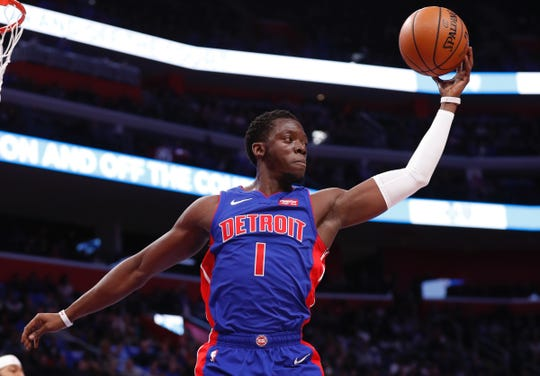 Detroit Pistons guard Reggie Jackson (1) gets a rebound in the first half against the Atlanta Hawks at Little Caesars Arena on Thursday, Oct. 24, 2019.