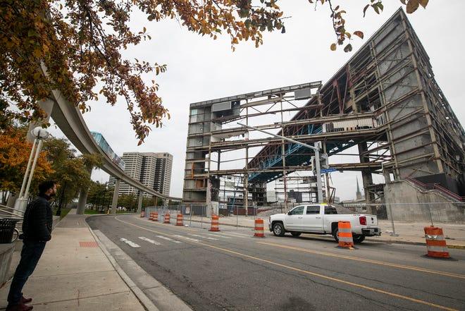The deconstruction of Joe Louis Arena Friday, Oct. 25, 2019.