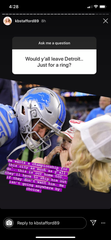 Kelly Stafford answers a question on her Instagram on Friday.