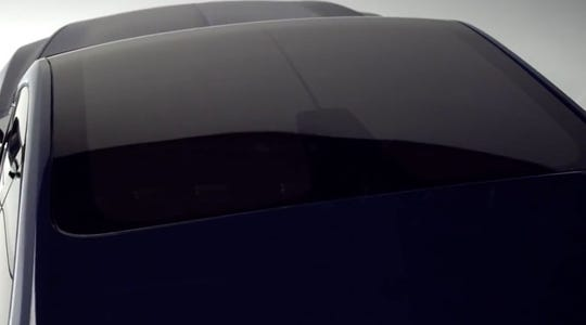 Lincoln concept vehicle with darkened SPD glass sunroof.