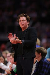 Detroit Pistons owner Tom Gores watches action against the Atlanta Hawks on Thursday, Oct. 24, 2019 at Little Caesars Arena.