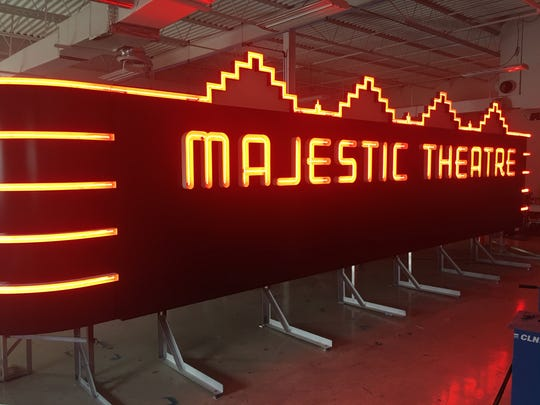 The fully lit version of the Majestic Theatre marquee in the shop at Spectrum Neon, based in Madison Heights.