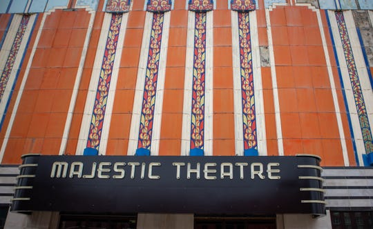 The new marquee for the Majestic Theatre on Woodward Ave. in Detroit, Friday, Oct. 25, 2019.