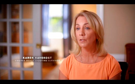 "The screen grab provided by the Missy for Senate campaign, shows a photo of an ad featuring Virginia Beach shooting survivor Karen Havekost. The campaign for Democratic candidate Missy Cotter Smasal began airing the ad ""Karen"" as she runs for Virginia state Senate. The TV spot quotes a woman who survived the Virginia Beach mass shooting in May and claims Republican incumbent Bill DeSteph hasn't done enough on gun control in the shooting's wake."