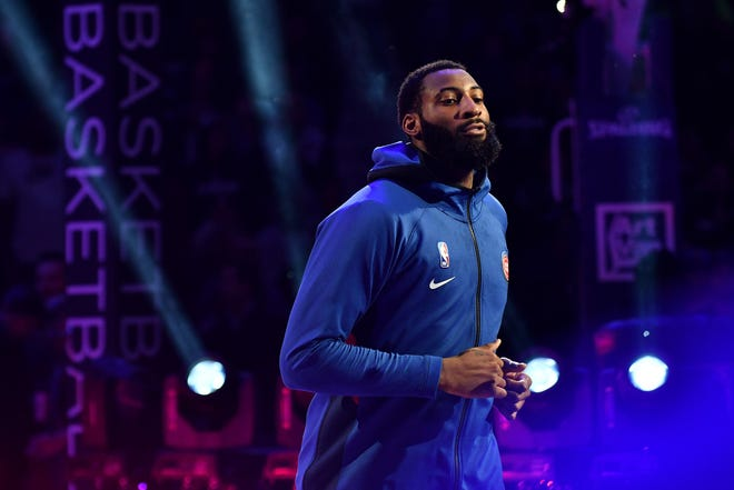 Pistons center Andre Drummond is introduced before the game Thursday.