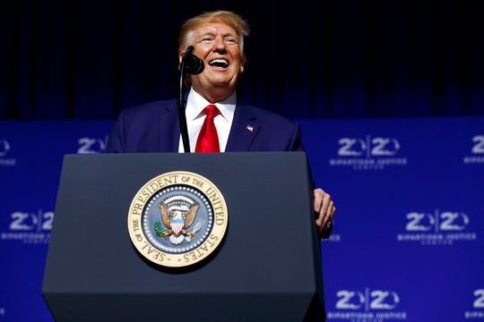 President Donald Trump speaks at the 2019 Second Step Presidential Justice Forum at Benedict College, Friday, Oct. 25, 2019, in Columbia, S.C.
