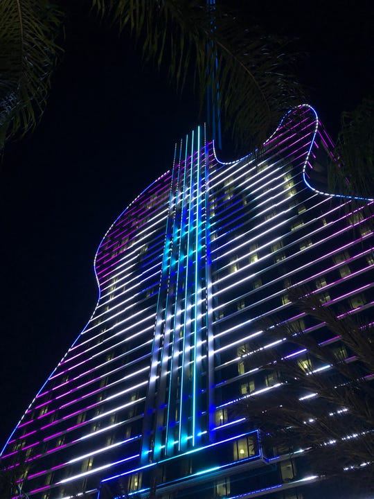 Celebrities turned out Thursday for the opening of the $1.5 billion expansion of Seminole Hard Rock Hotel & Casino in Hollywood, Florida. It's said to be the first guitar-shaped hotel in the world.