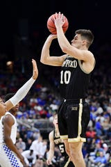 Wofford guard Nathan Hoover (10) is one of the top returning 3-point shooters in the Southern Conference.