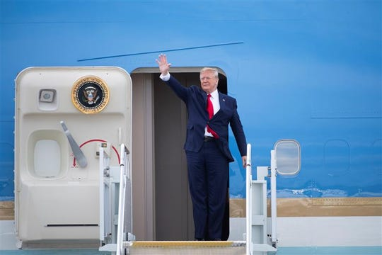 President Donald Trump arrives in Columbia to visit a criminal justice forum at Benedict College, Friday, Oct. 25, 2019.