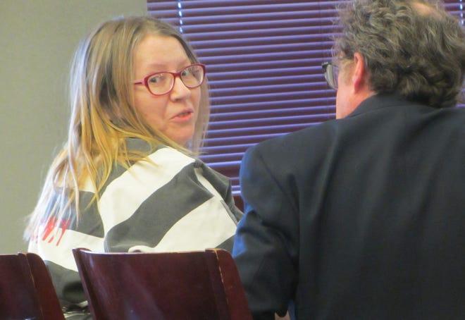 Holly Lynn Lasher awaits sentencing before Cascade County District Judge Elizabeth Best Friday, Oct. 25, 2019.