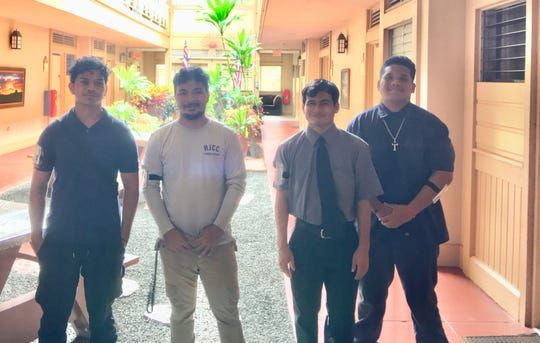 A group of students from Guam gather in front of their dorm rooms at the Hawaii Job Corps in Oahu. From left: Joseph Ytelug, Kobe Blas, Anthony Meno and Isaiah Wong.