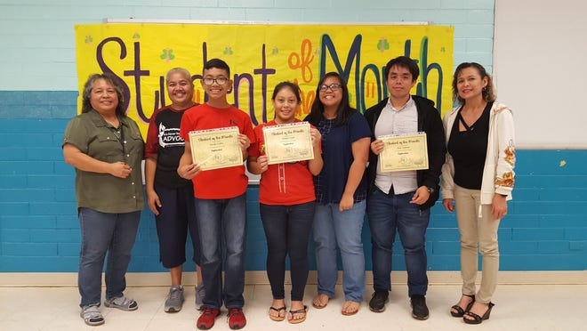 The Guahan Academy Charter School honored its September Student of the Month awardees on October 17. Pictured from left: Mary Mafnas, Onaia Snively, Jusaih Carlos, Shelene Casil, Jocelyn Mendiola, James Pangelinan and Lynda Hernandez-Avilla. Not in the picture: Dina Soriano.