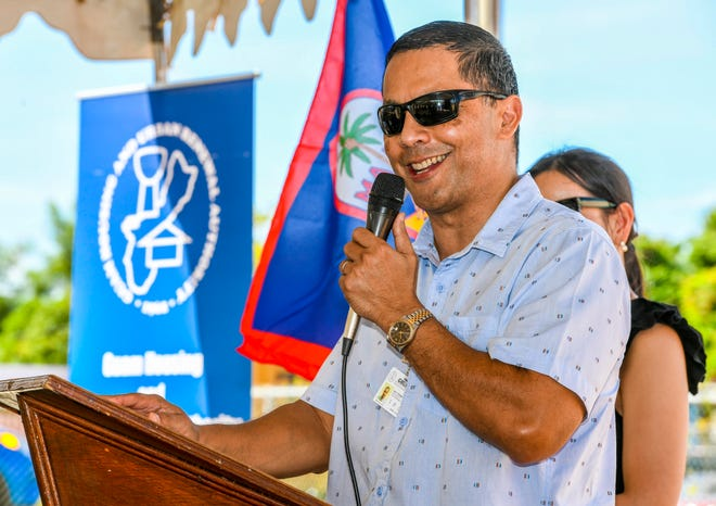 Ray Topasna, Guam Housing and Urban Renewal Authority executive director, speaks during a ceremonial ribbon cutting for Phase I and a groundbreaking for Phase II of the Ironwood Villa Del Mar housing project in Toto in this Oct. 25, 2019, file photo.