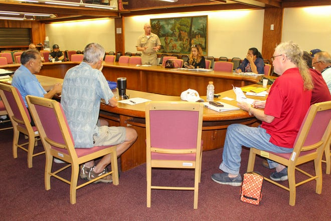 U.S. Naval Base Guam commanding officer Capt. Jeffrey Grimes met with Guam military veterans Oct. 25 to discuss changes to base access and privileges under the 2019 John S. McCain National Defense Authorization Act.