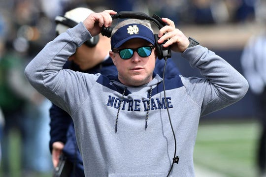Notre Dame Fighting Irish Special teams coordinator Brian Polian walks on the sideline before the Blue-Gold Game April 13, 2019, at Notre Dame Stadium.