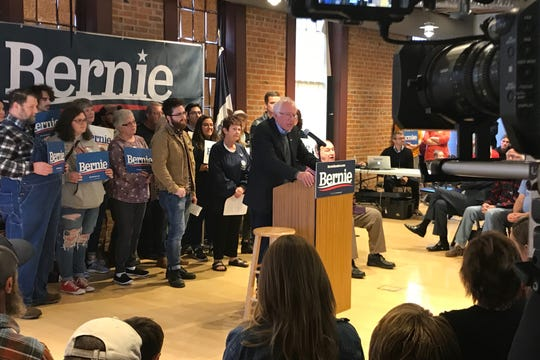 Senator Bernie Sanders of Vermont speaks to a crowd on October 25, 2019 the Maytag Complex in Newton, Iowa.