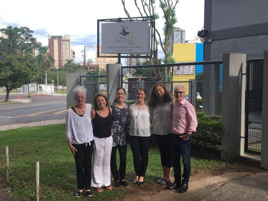 The Ballet Magnificat! Jackson staff on the site the new training program in Ciritiba, Brazil.  Pictured (left to right) — Brenda Holden, Margarete Rocha, Kathy Thibodeaux, Melanie Seeger, Katie Smith, Keith Thibodeaux