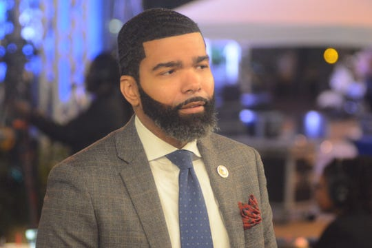 Mayor Chokwe Antar Lumumba speaks to reporters after his third State of the City address on Oct. 24, 2019.