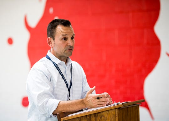John LeCroy, TDEC Regional Director of External Affairs, speaks during a public meeting held at Claxton Elementary School on Thursday, October 24, 2019.