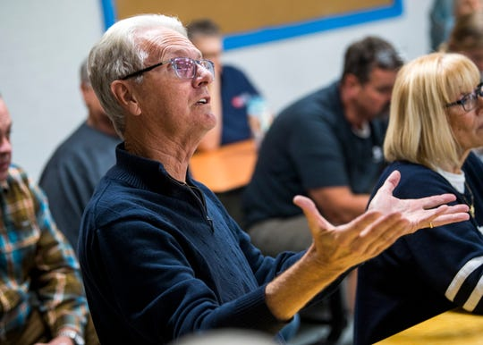 Hal Ballew asks TVA and TDEC officials a question during a public meeting held at Claxton Elementary School on Thursday, October 24, 2019.