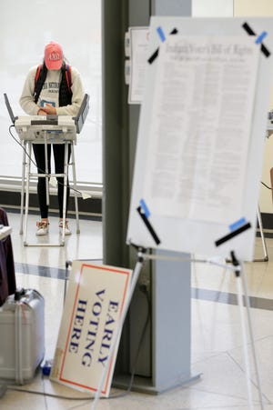 Caroline Rahig votes inside Purdue's Krach Leadership Center, Friday, Oct. 25, 2019 in West Lafayette.