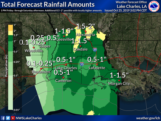 Estimated rainfall totals expected to be brought on by Tropical Storm Olga and a cold front.
