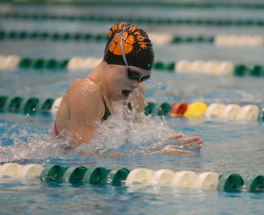 Lindsey Witte of Brighton won four events in a dual meet against Hartland.