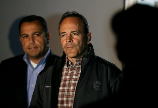 Gov. Matt Bevin and Senator Ralph Alvarado talk to the media before embarking on a bus tour of Kentucky on Oct. 25, 2019.