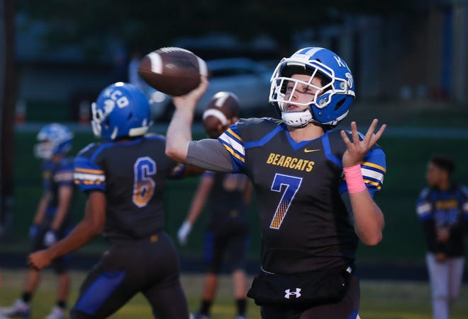 Kentucky Country Day QB Luke Russo (7) warms up passing the ball as they prepare to play Eminence on the KCD field in Louisville, Ky. on Oct. 25, 2019.