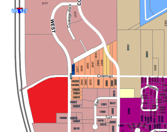 The property is highlighted in this edited portion of East Lansing's zoning map