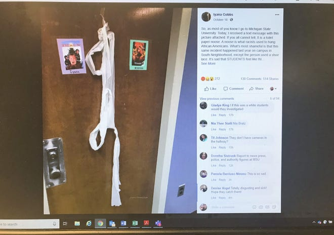 Iyana Cobbs' Facebook post, shown, shows someone left what she calls a noose made out of toilet paper on the door of her room in Bryan Hall at Michigan State University.